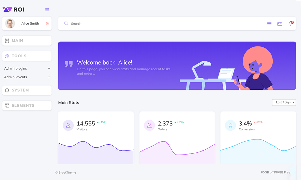 ROI Dashboard Admin Template