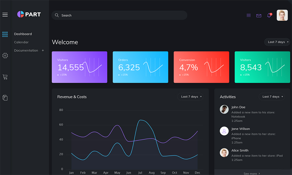 Part Dashboard Admin Template