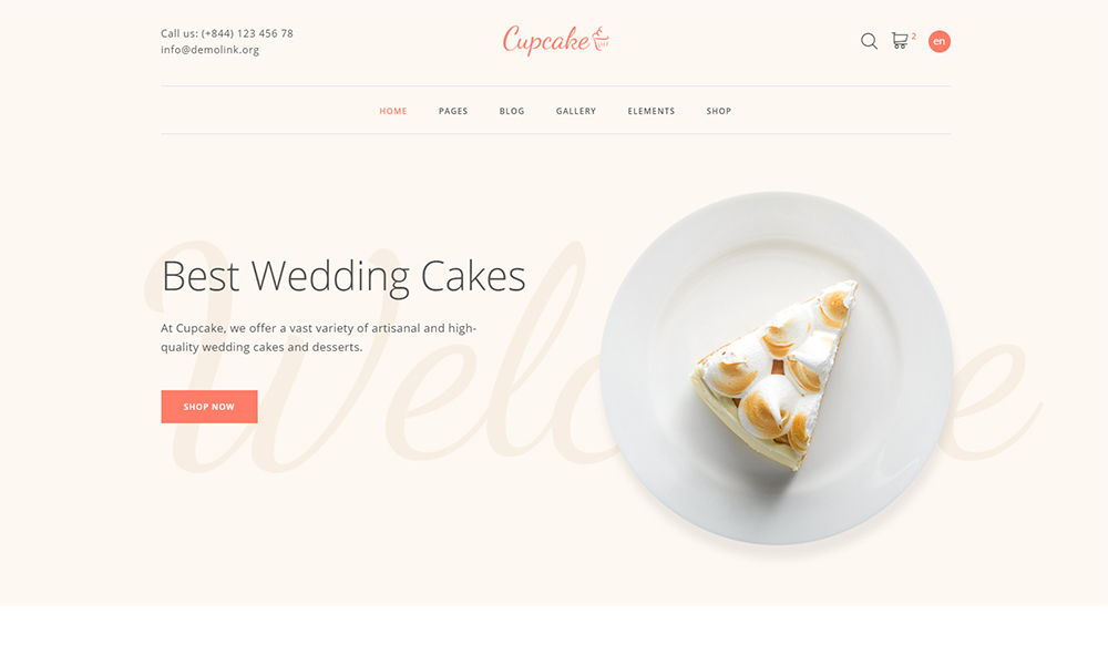 Cake Shop Website Template - Cupcake