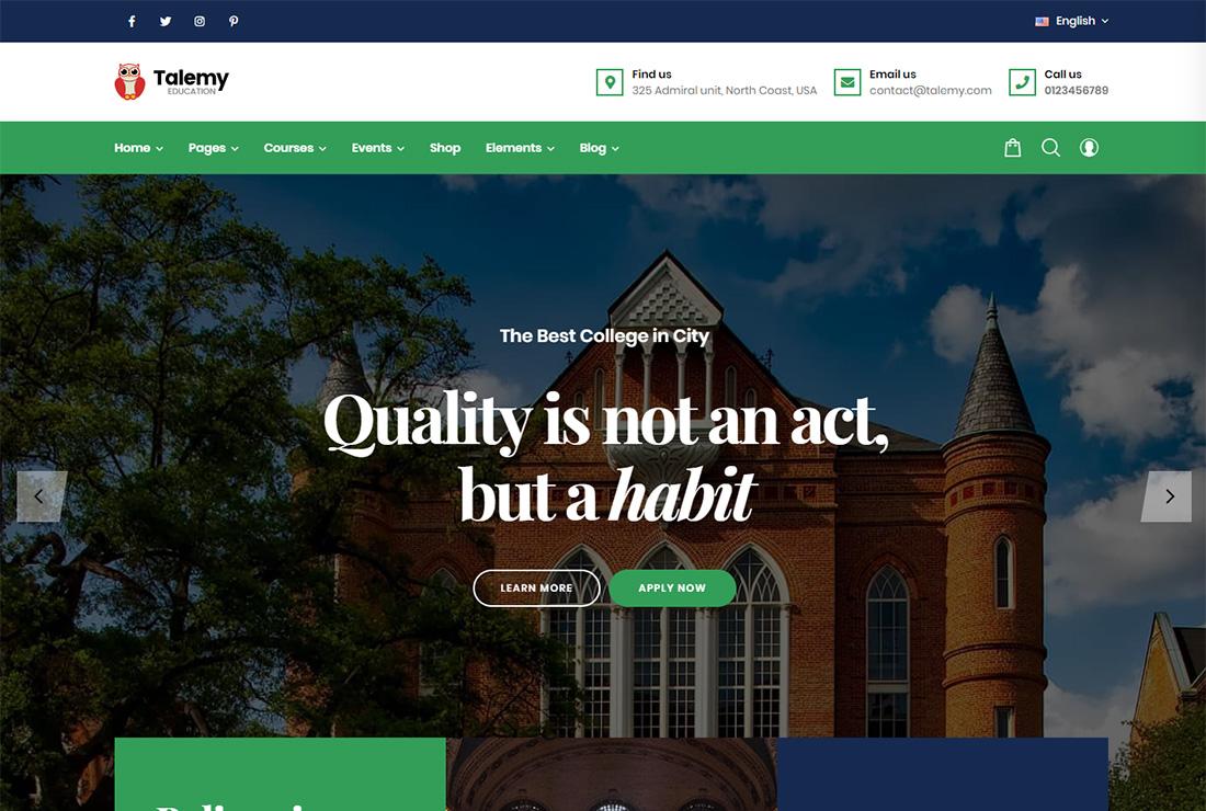 Talemy accessible WordPress theme