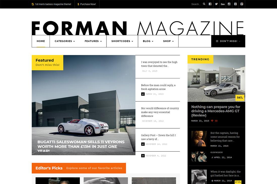 forman cars magazine wordpress themes