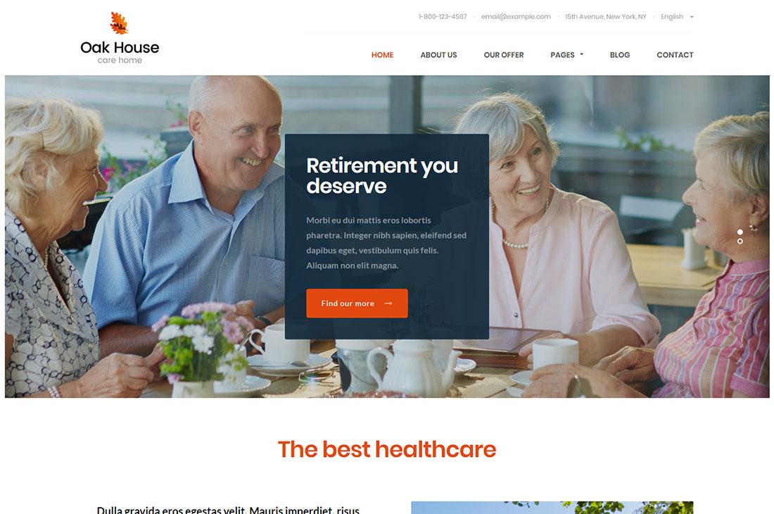 oak house elderly care wordpress themes