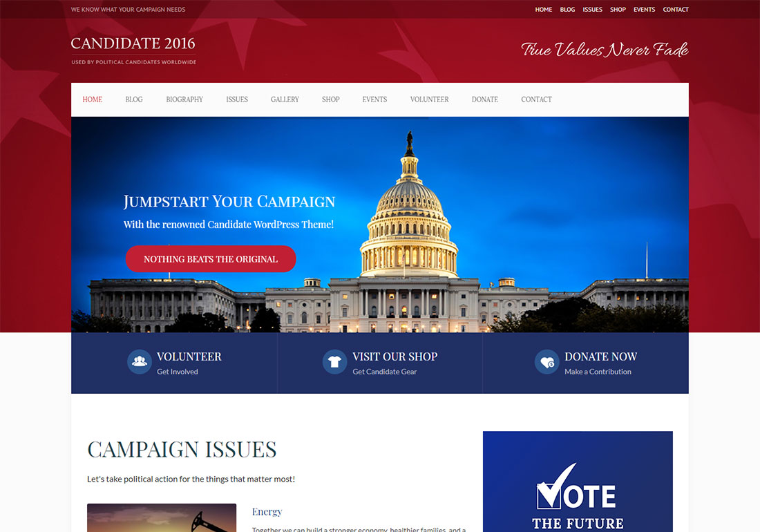 candidate government WordPress theme