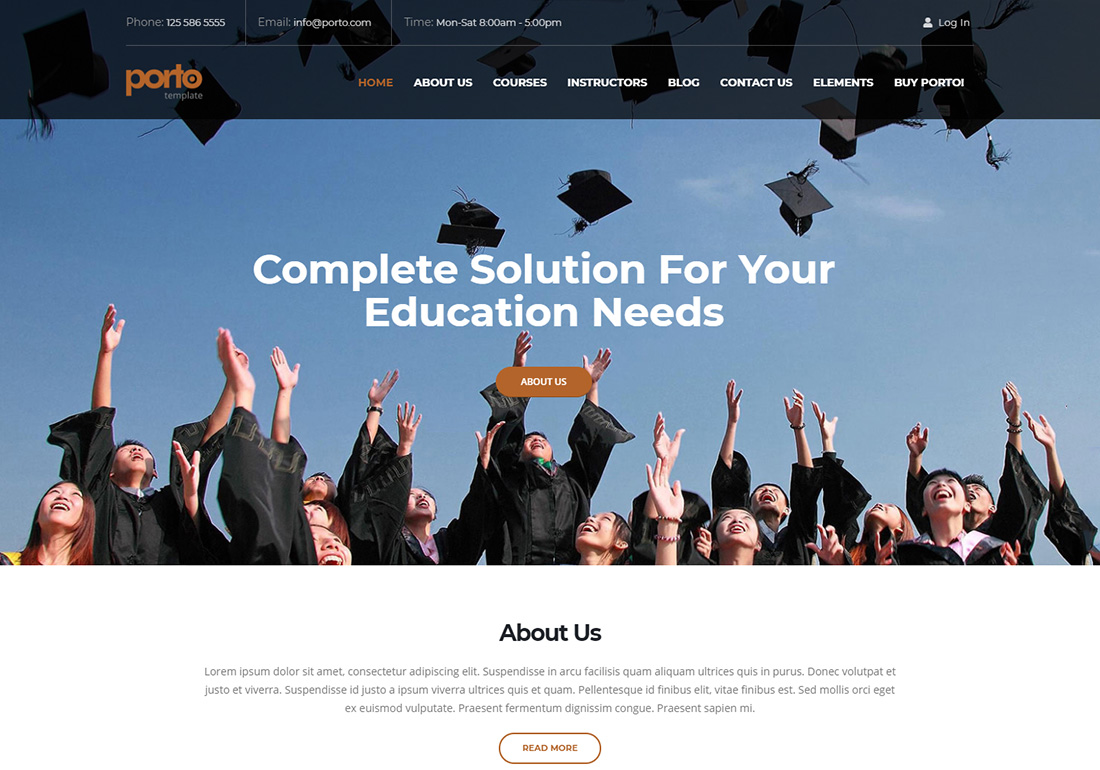 Porto online course WordPress theme