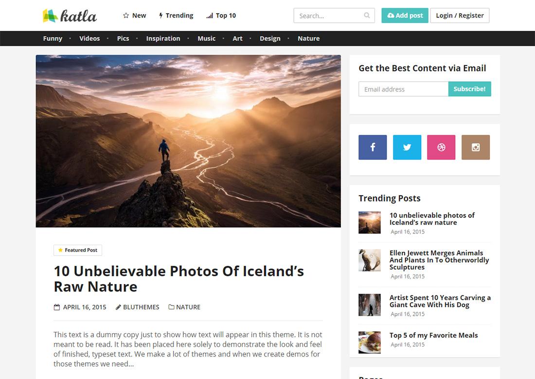 katla photo sharing WordPress theme