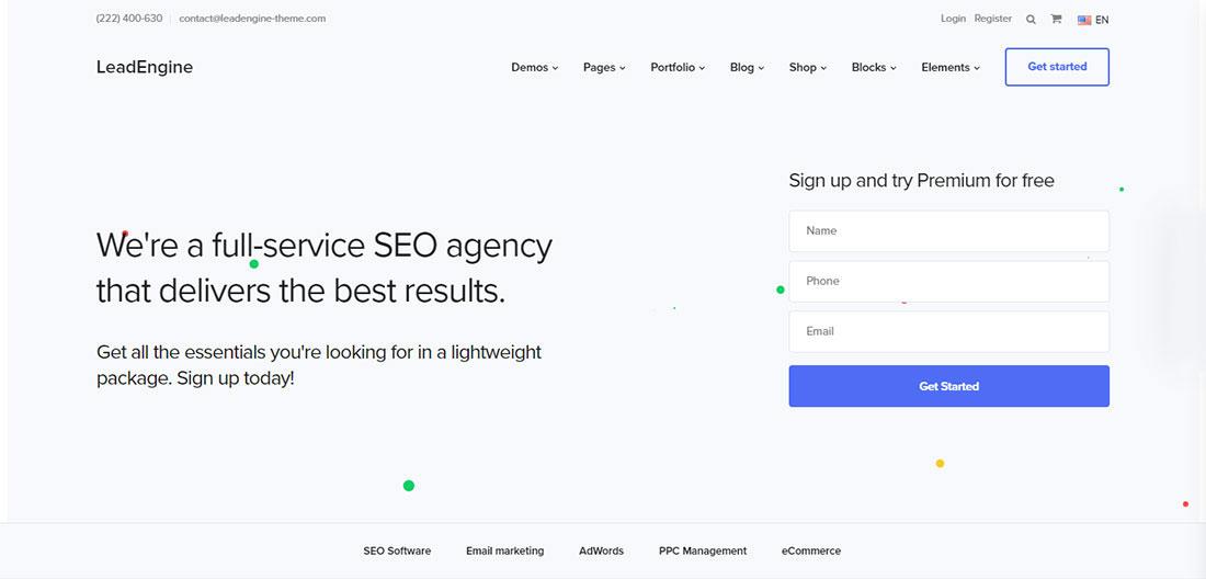 LeadEngine seo agency WordPress theme