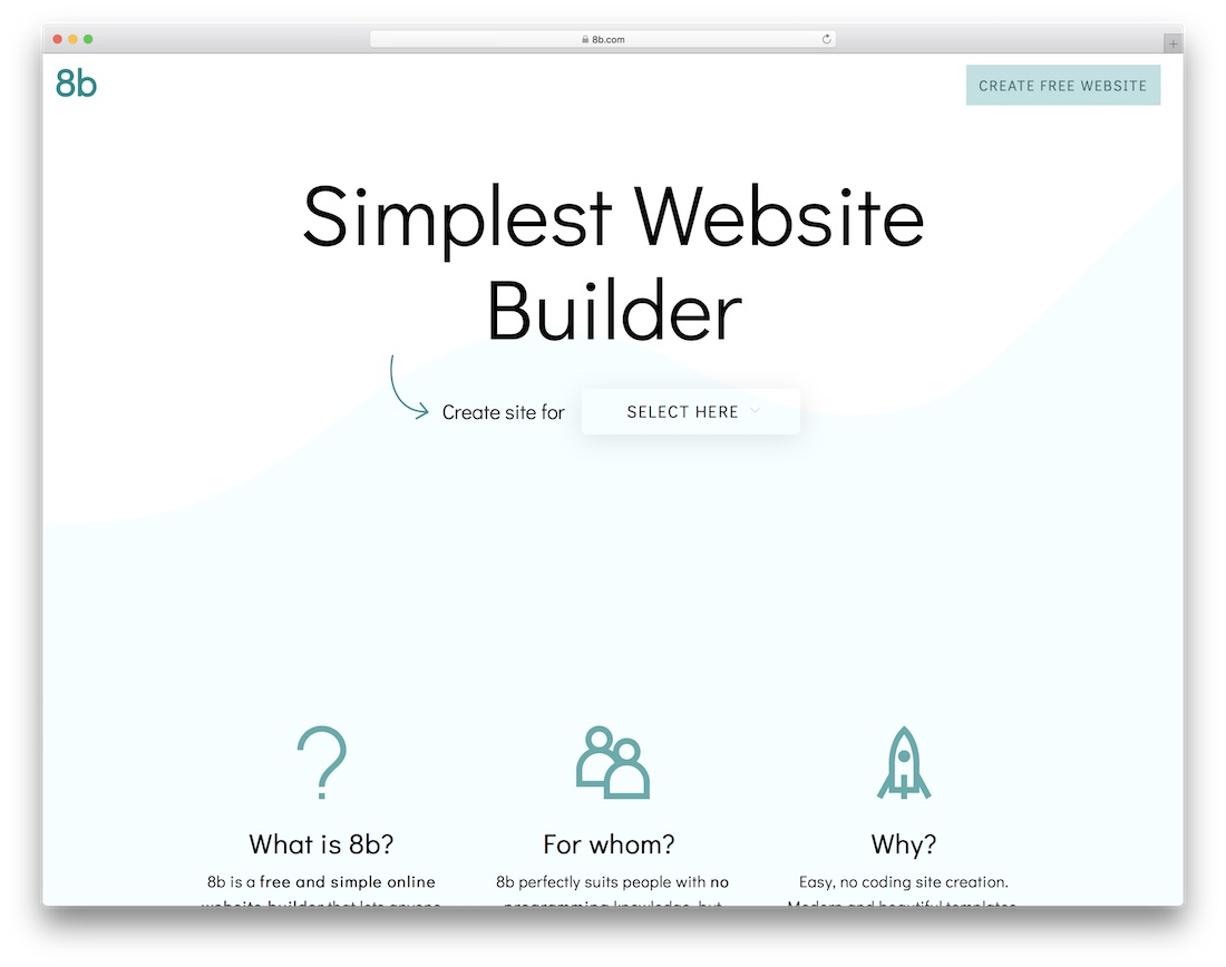 8b free drag and drop website builder