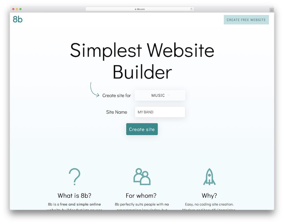 8b musician website builder