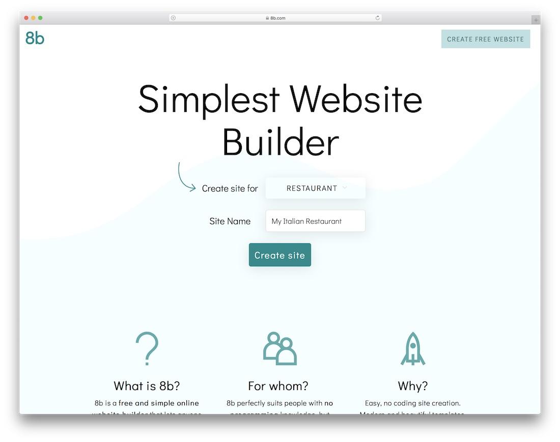 8b restaurant website builder