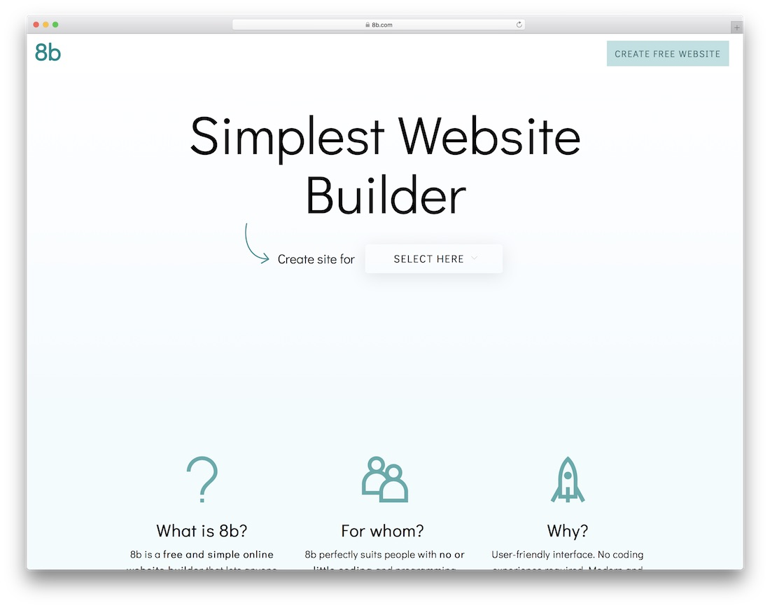 8b website builder and hosting