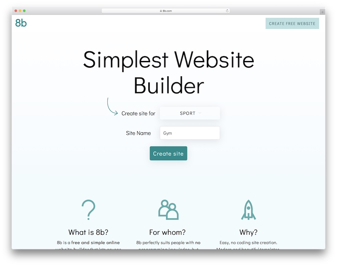 8b website builder for gym