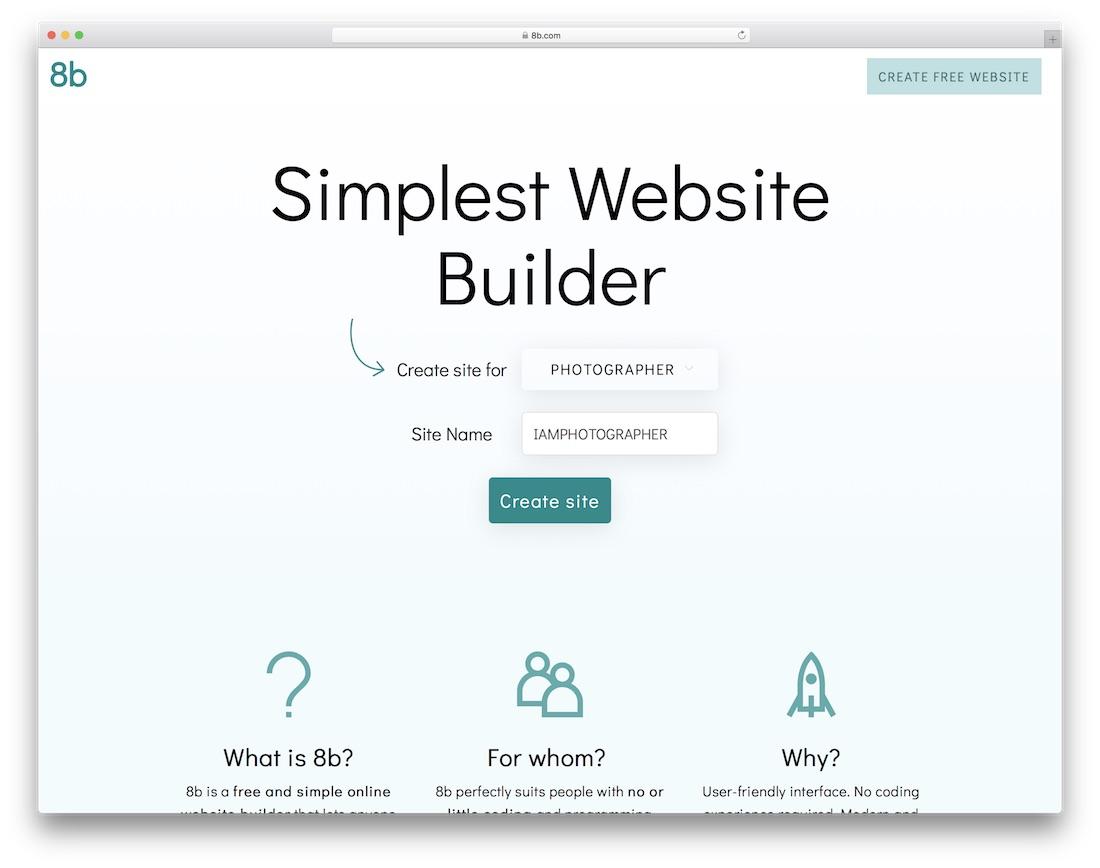 8b website builder for photographers