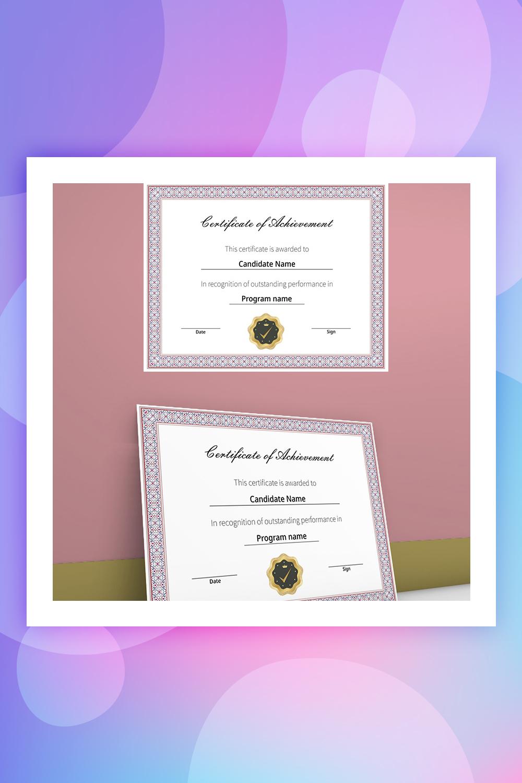 Elegnat and simple Certificate of achievement Certificate Template
