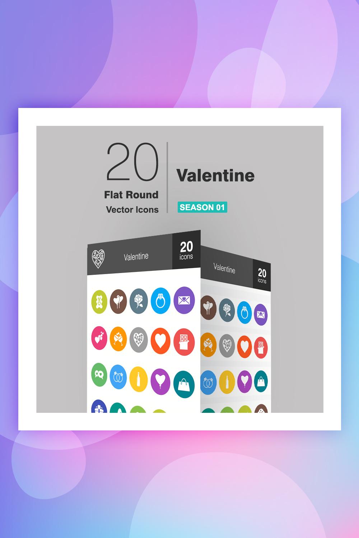 20 Valentine Flat Round Iconset Template