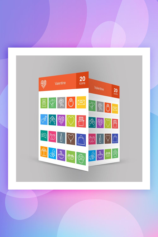 20 Valentine Line Multicolor B/G Iconset Template