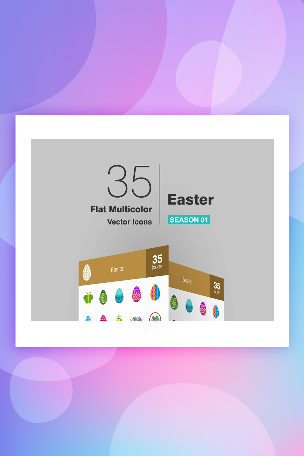 35 Easter Flat Multicolor Iconset Template