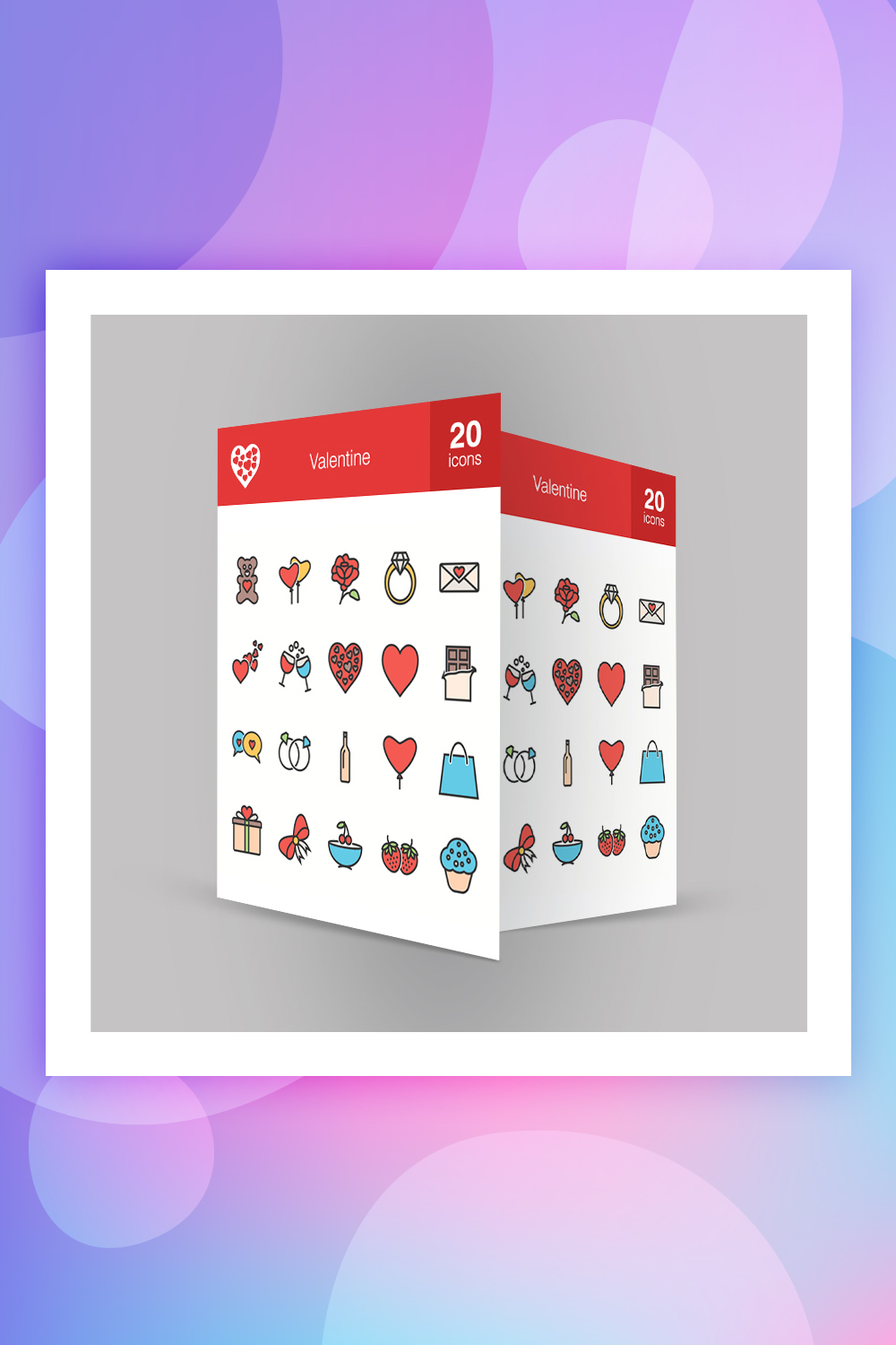 20 Valentine Filled Line Iconset Template
