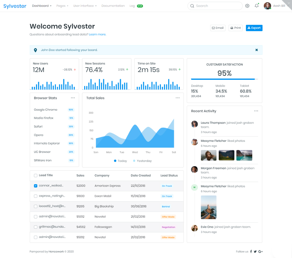 Sylvester - Developer-friendly Bootstrap 4.4.1 + UI Kit Admin Template