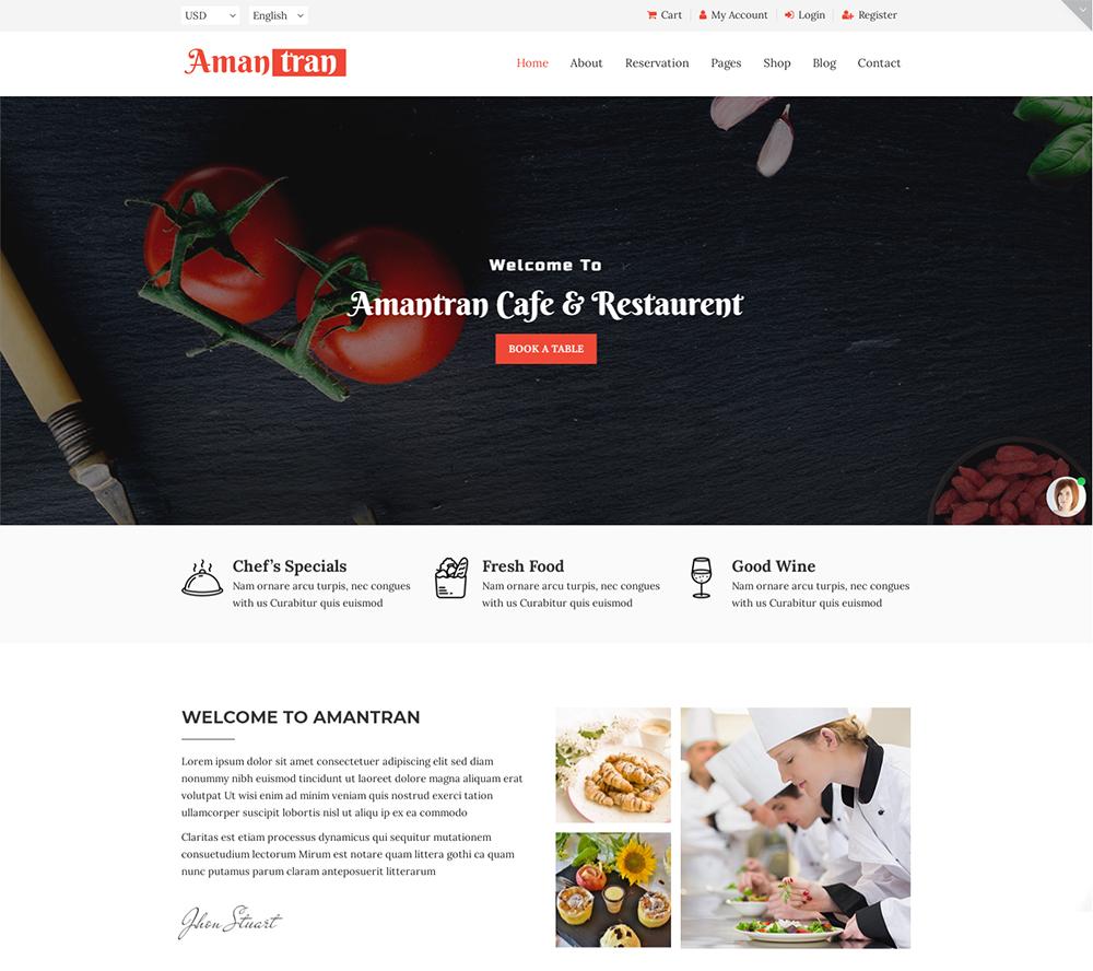 Amantran - Restaurant HTML5 Website Template