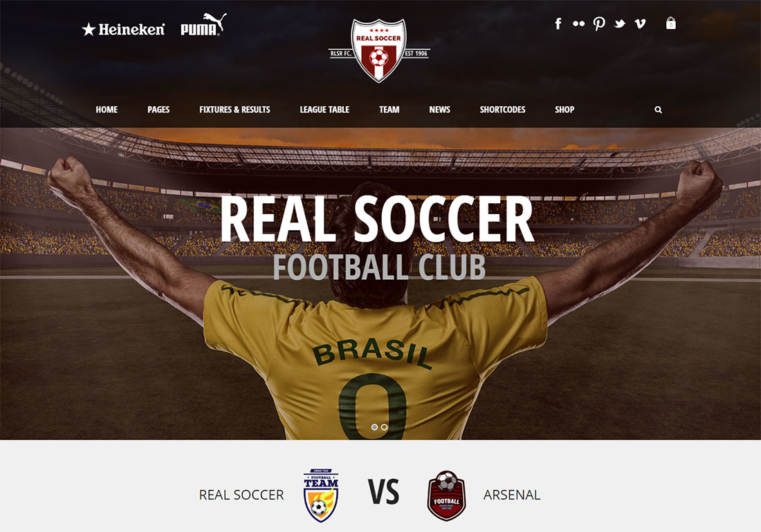REal Soccer baseball WordPress theme