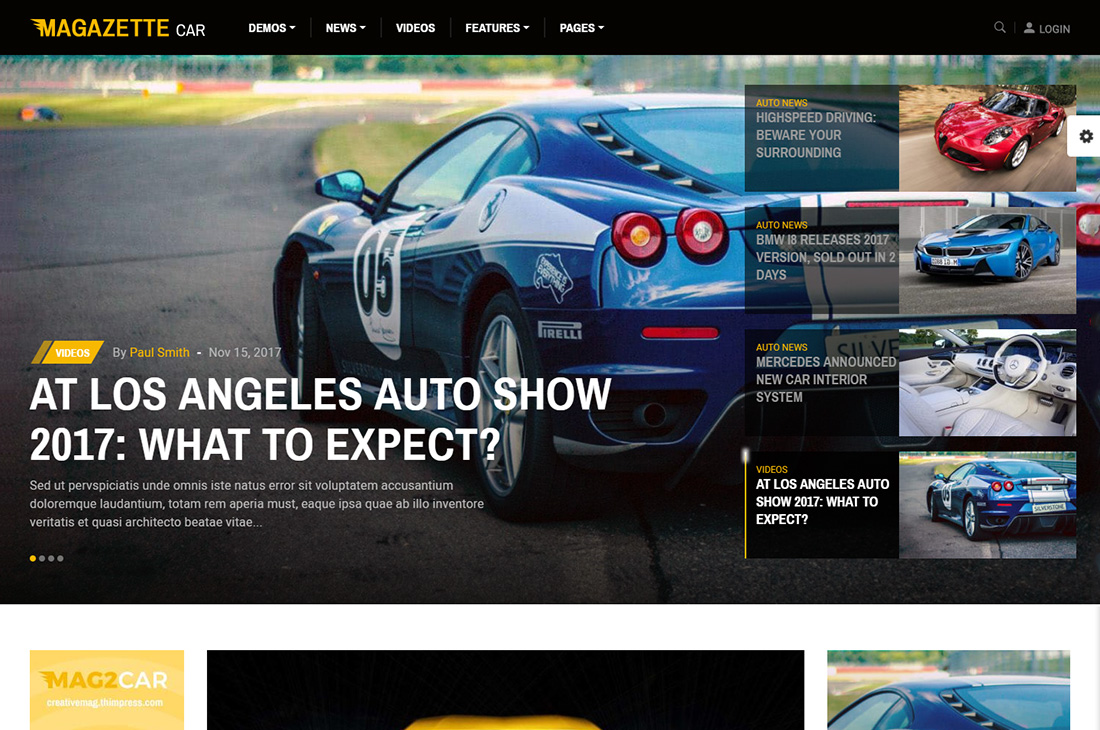 magazette cars magazine wordpress themes