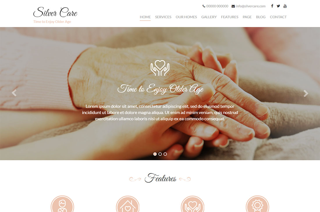 sliver care elderly care wordpress themes