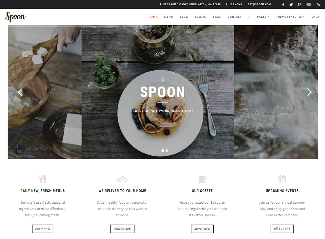 Spoon Food Truck WordPress Theme