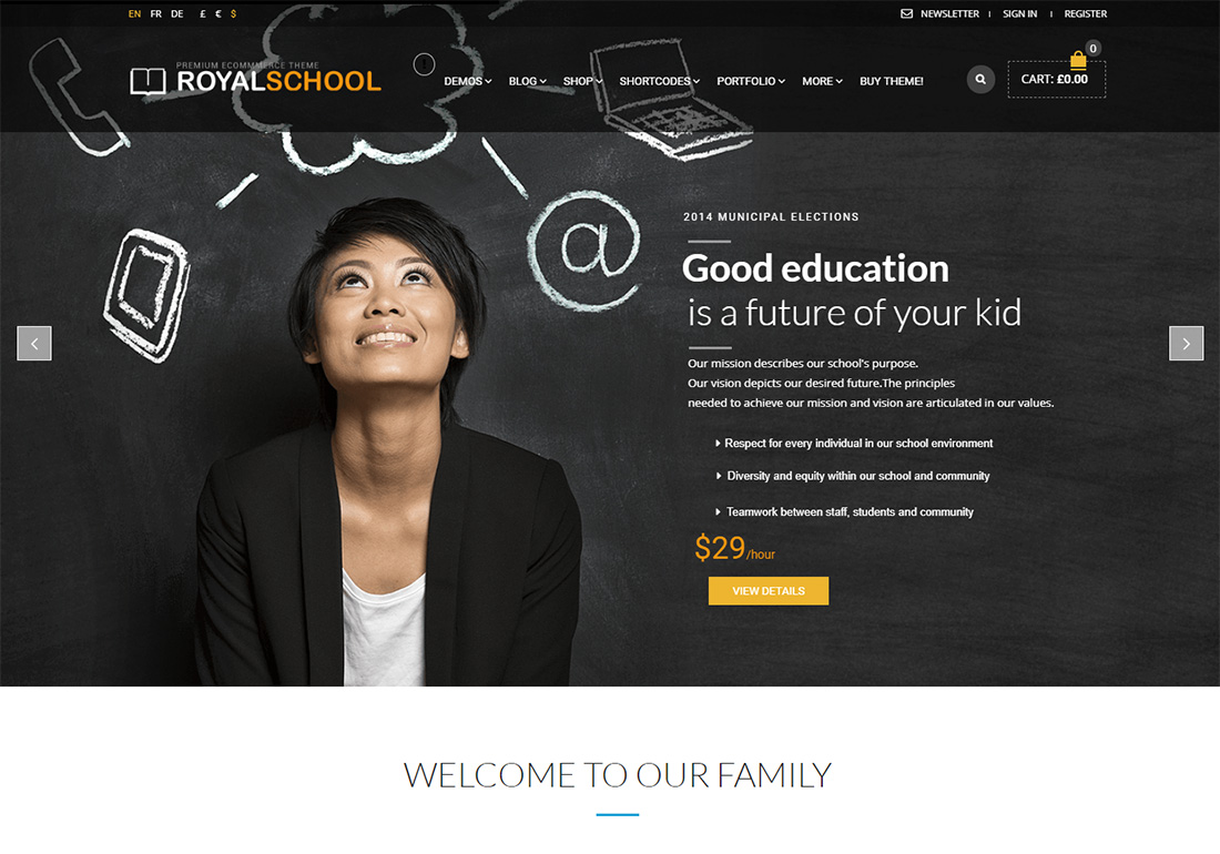 Royal online course WordPress theme