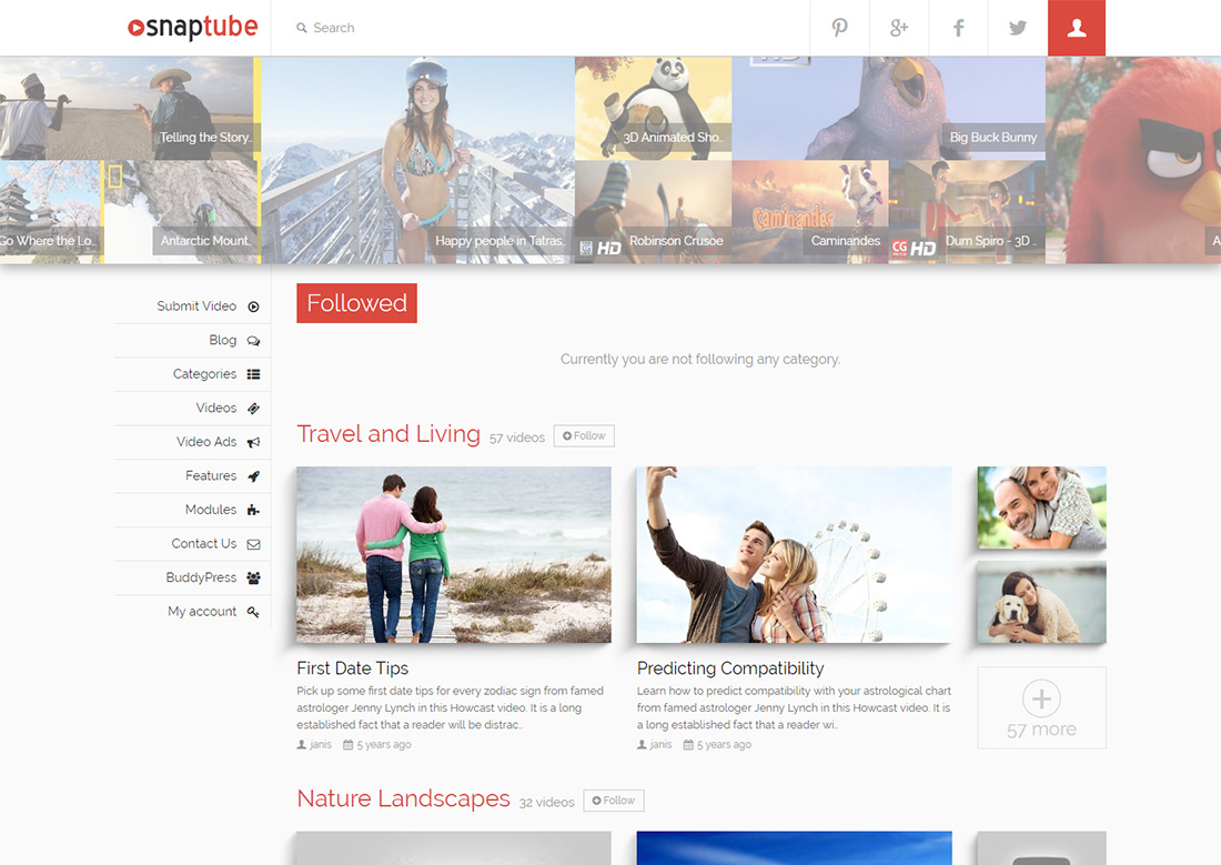 snaptube photo sharing WordPress theme