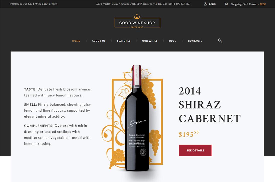 good wine wine shop WordPress theme