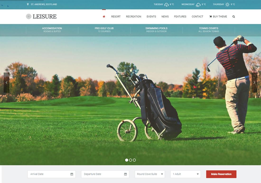 Hotel Leisure WordPress Golf Theme