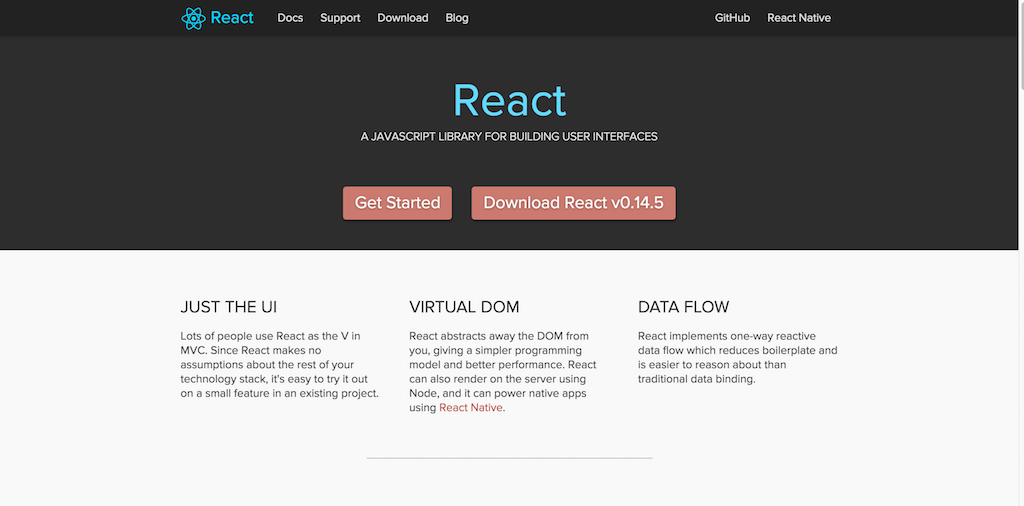 A JavaScript library for building user interfaces React