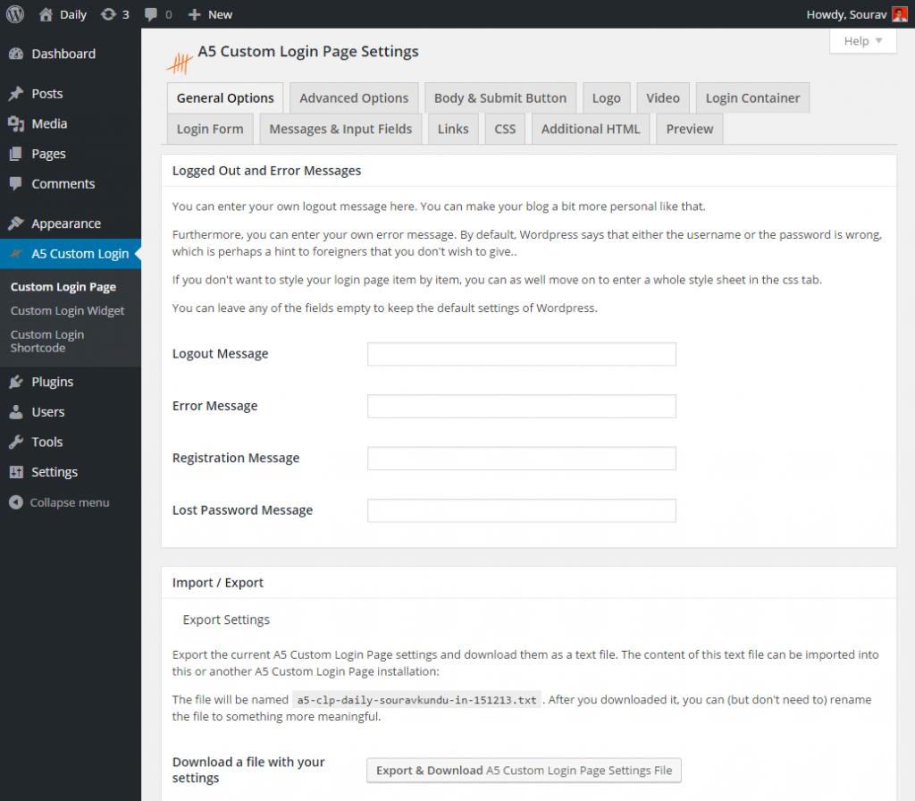 A5 Custom Page Login Options