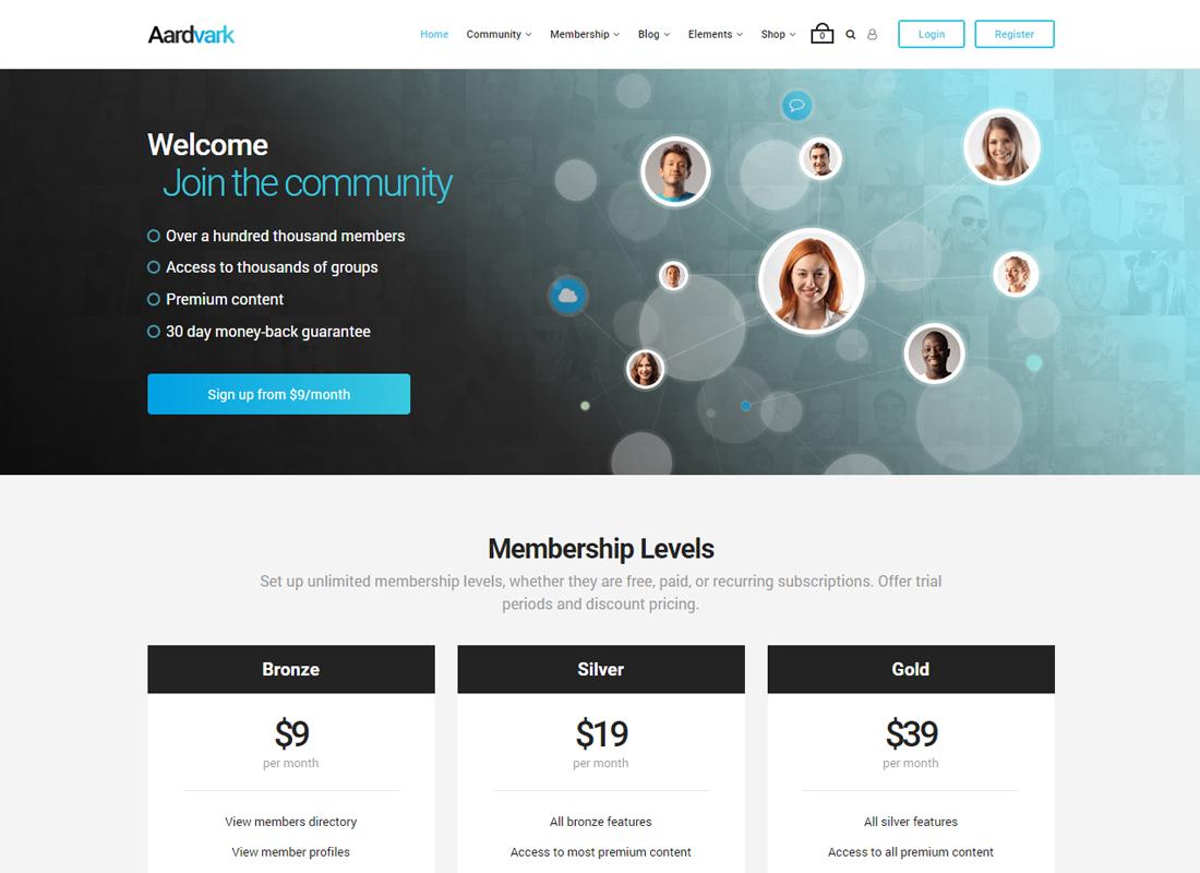 Aardvark   BuddyPress, Membership & Community Theme