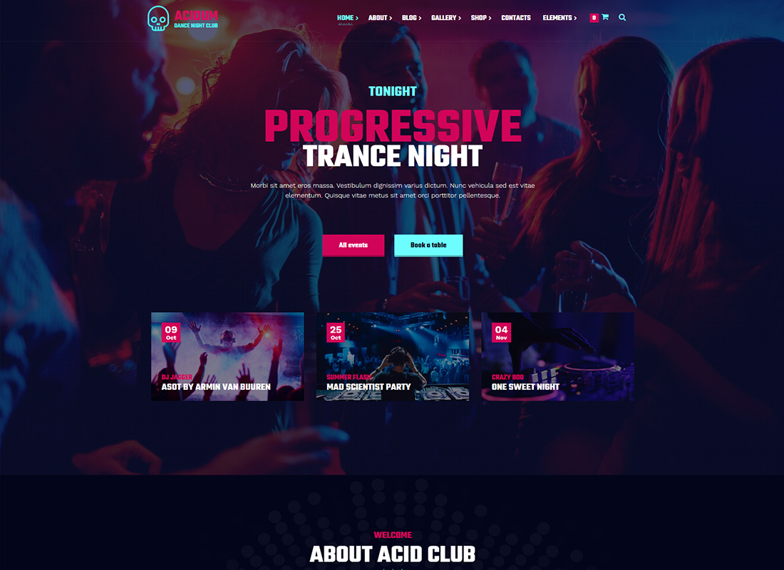 Acidum - DJ, Dance & Disco Night Club, and Music WordPress Theme