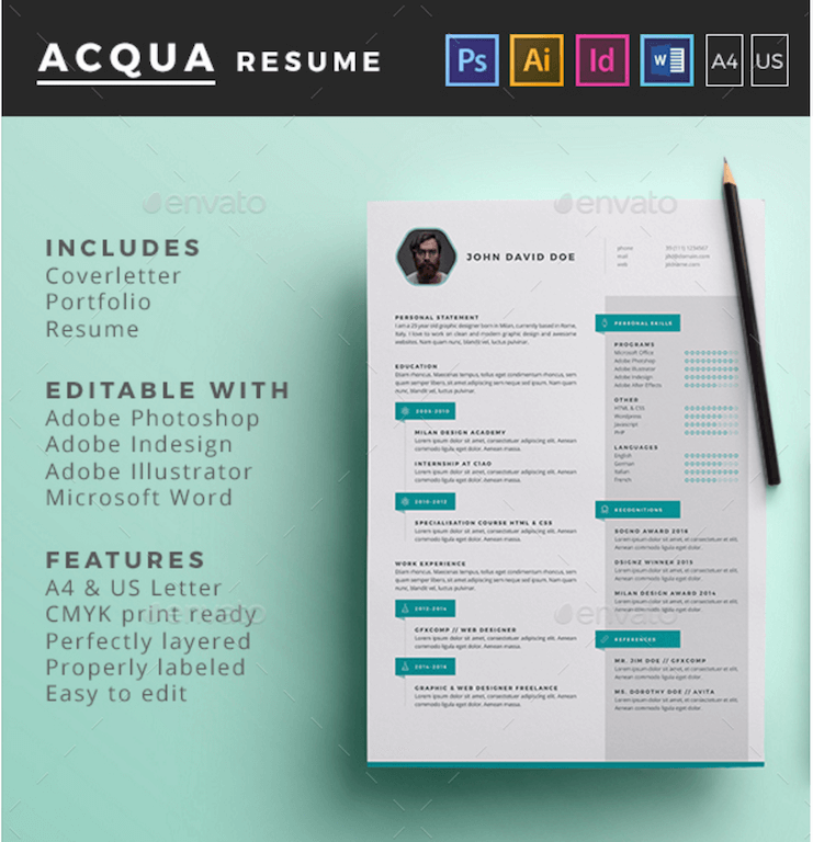 Best free resume templates in psd and ai in 2018 colorlib acqua resume graphicriver yelopaper Image collections