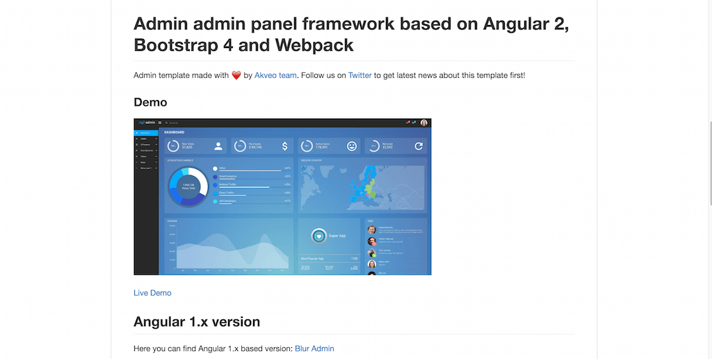 Admin Panel Framework built with Angular 2, Bootstrap 4 & WebPack