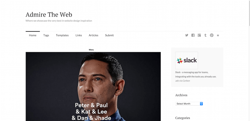 Admire The Web The very best in web design inspiration