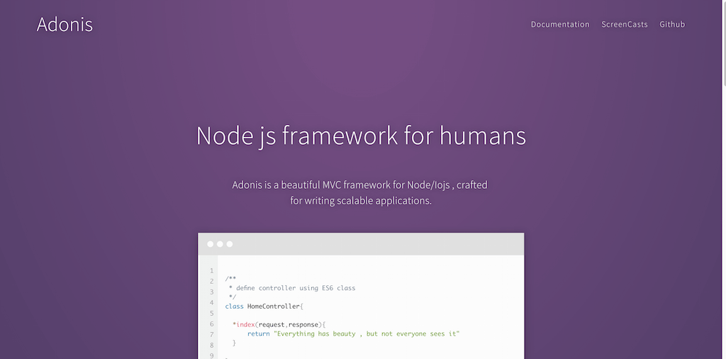 Adonis Js NodeJs MVC framework