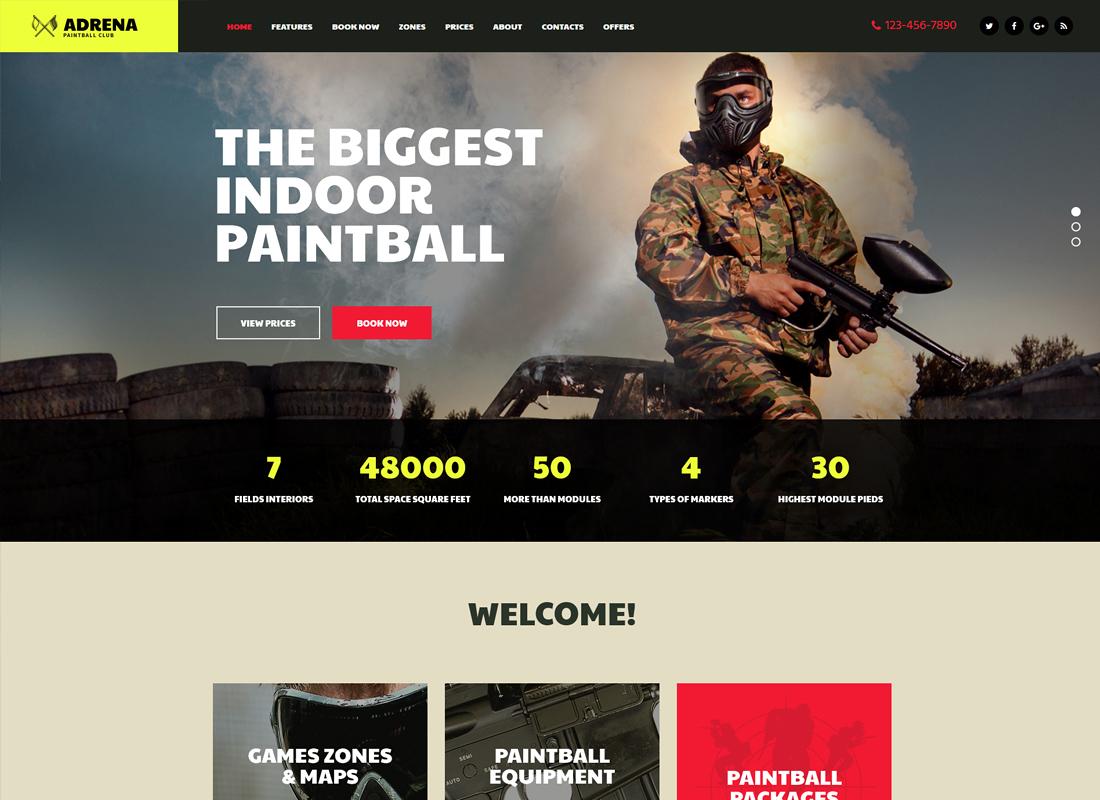Adrena - Airsoft Club & Paintball WordPress Theme