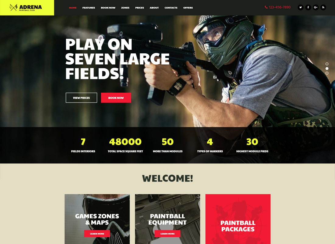 Adrena - Paintball Club WordPress Theme