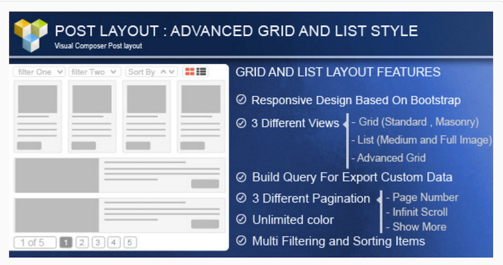 Advance Post Grid List with custom filtering for WPBakery Page Builder WordPress