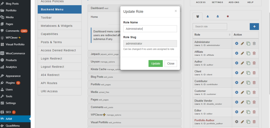 This is how the Advanced Access Manager settings page look like.