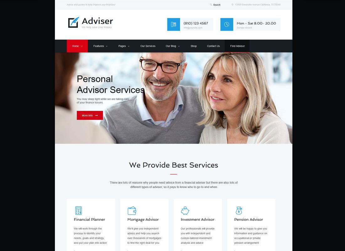 Adviser - A Modern Finance & Accounting WordPress Theme