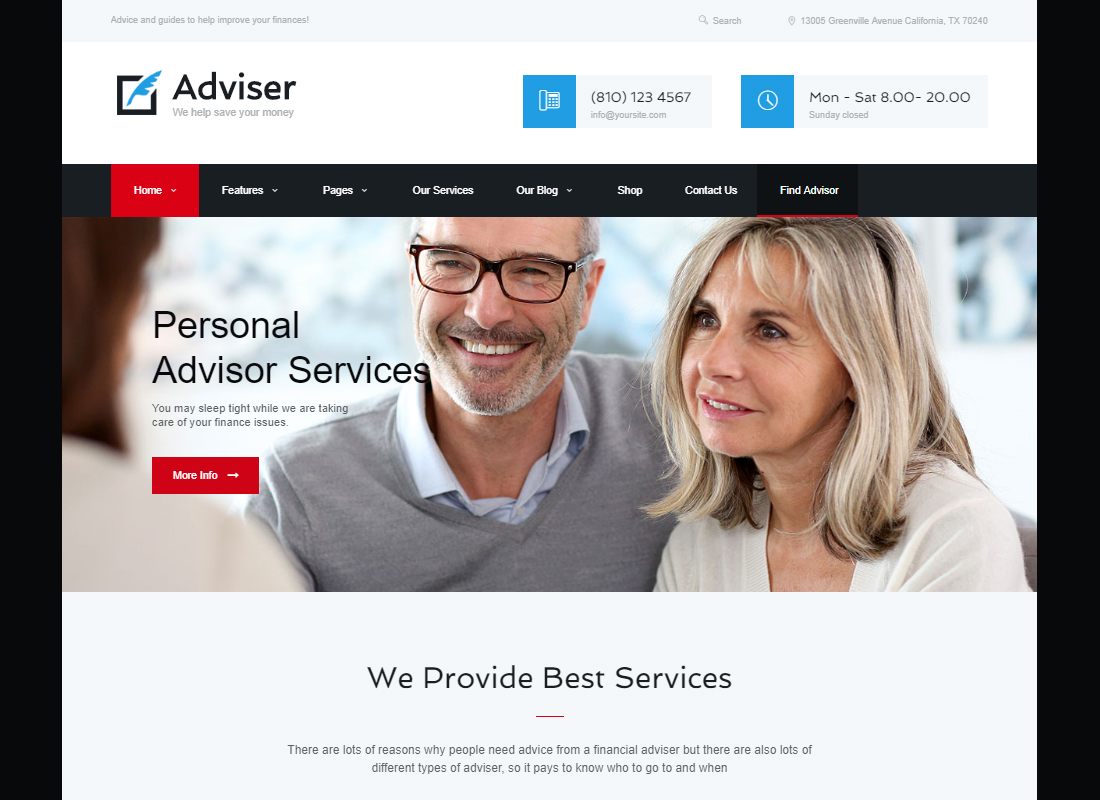 Adviser - A Modern Finance & Accounting WordPress Theme