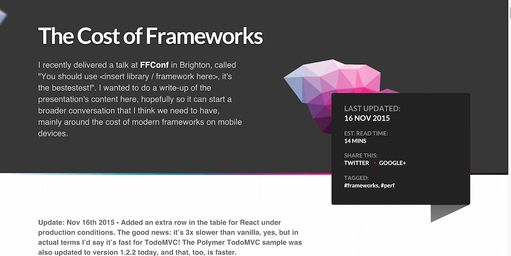 Aerotwist The Cost of Frameworks