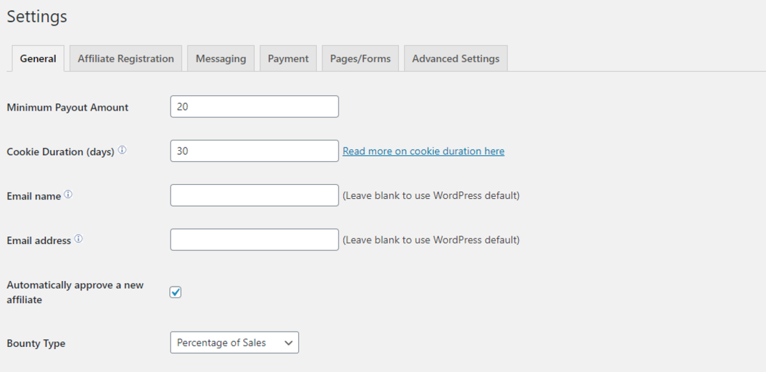 Affiliates Manager Settings Page