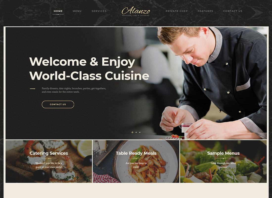 Alanzo - Personal Chef & Catering WordPress Theme