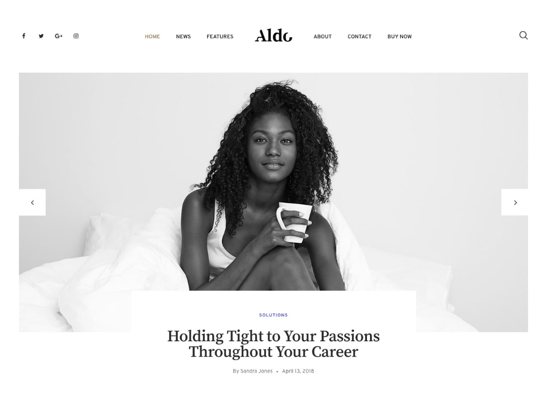 Aldo | Black and White Gutenberg Blog WordPress Theme