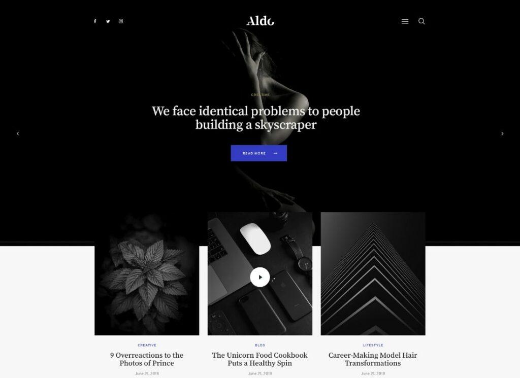 Aldo | Black and White Gutenberg Blog WordPress Theme